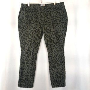 Royalty For Me Womens 16W Green Skinny Jeans Leopa